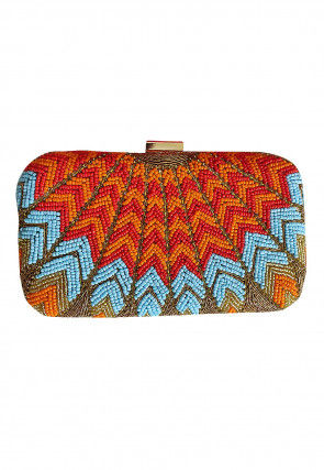 Hand Embroidered Art Silk Clutch Bag in Orange and Blue