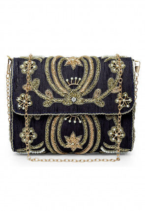 Hand Embroidered Art Silk Clutch Cum Sling Bag in Black