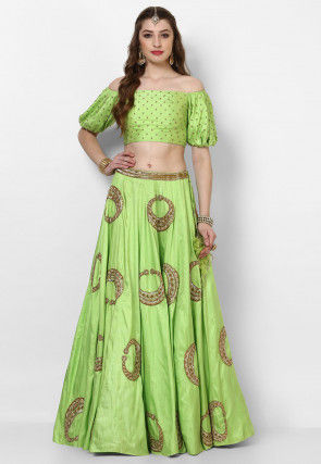 Hand Embroidered Art Silk Crop Top N Skirt in Green