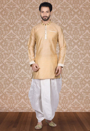 Hand Embroidered Art Silk Dhoti Kurta in Beige