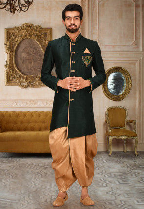 Hand Embroidered Art Silk Dhoti Kurta in Dark Green