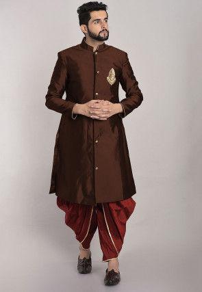 Hand Embroidered Art Silk Dhoti Sherwani in Dark Brown
