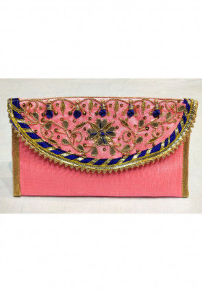 Hand Embroidered Art Silk Envelope Clutch Bag in Baby Pink