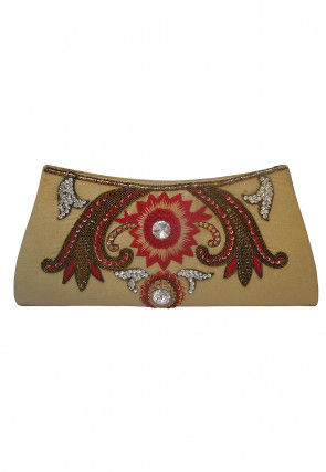 Hand Embroidered Art Silk Envelope Clutch Bag in Beige