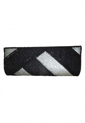 Hand Embroidered Art Silk Envelope Clutch Bag in Black