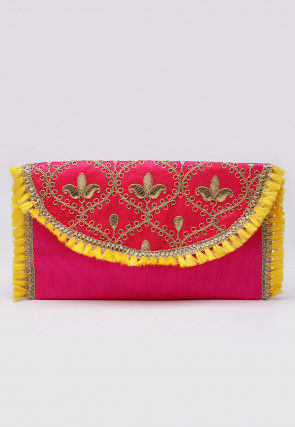 Hand Embroidered Art Silk Envelope Clutch Bag in Fuchsia