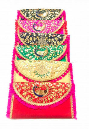 Hand Embroidered Art Silk Envelope Clutch Bag in Multicolor