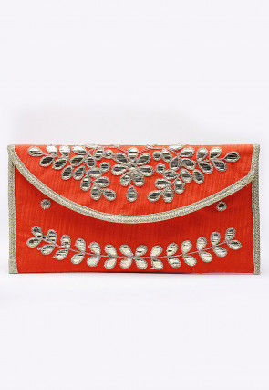 Hand Embroidered Art Silk Envelope Clutch Bag in Orange