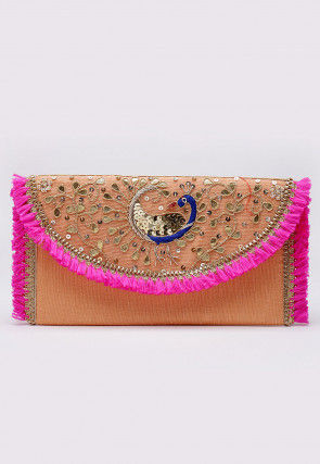 Hand Embroidered Art Silk Envelope Clutch Bag in Peach