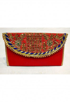 Hand Embroidered Art Silk Envelope Clutch Bag in Red