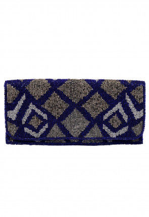 Hand Embroidered Art Silk Envelope Clutch Bag in Royal Blue