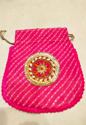 Hand Embroidered Art Silk Envelope Clutch Bag in Yellow