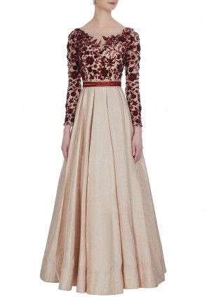Hand Embroidered Art Silk Flared Gown in Beige