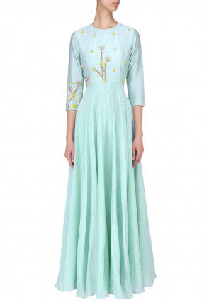 Hand Embroidered Art Silk Flared Gown in Light Blue