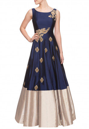 Hand Embroidered Art Silk Flared Gown in Navy Blue