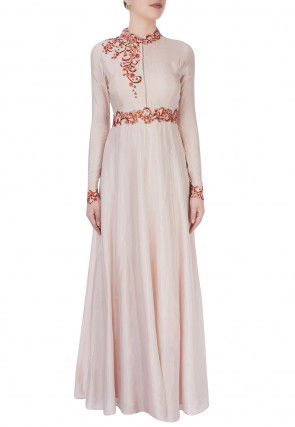 Hand Embroidered Art Silk Flared Gown in Off White