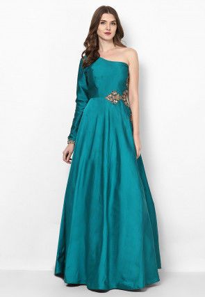 Hand Embroidered Art Silk Flared Gown in Turquoise