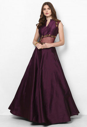 Hand Embroidered Art Silk Flared Gown in Violet