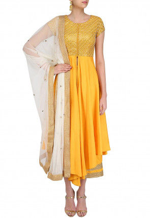 Hand Embroidered Art Silk Front Slit A Line Suit in Yellow