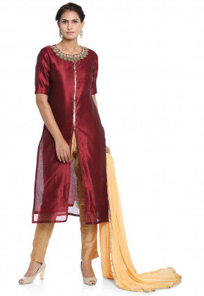 Hand Embroidered Art Silk Front Slit Pakistani Suit in Maroon