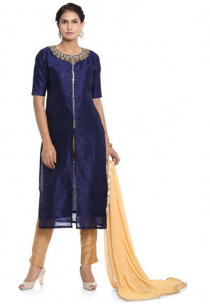 Hand Embroidered Art Silk Front Slit Pakistani Suit in Blue