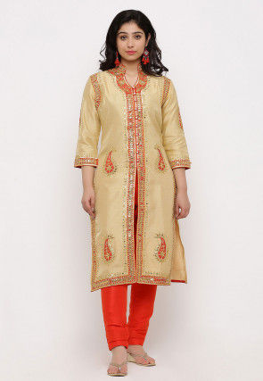 Hand Embroidered Art Silk Front Slit Straight Kurta in Beige
