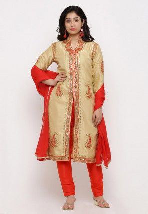 Hand Embroidered Art Silk Front Slit Straight Suit in Beige