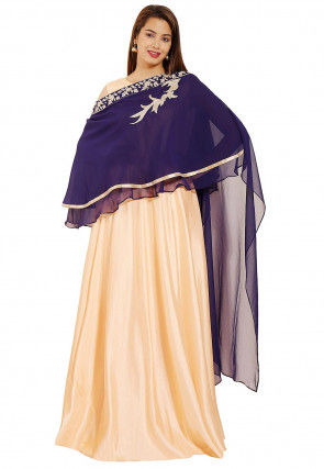 Hand Embroidered Art Silk Gown in Light Peach and Navy Blue