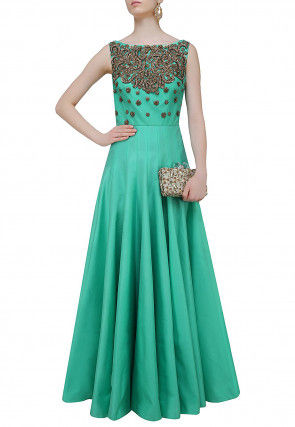 Hand Embroidered Art Silk Gown in Light Teal Green