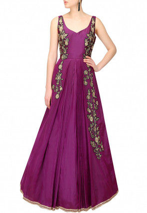 Hand Embroidered Art Silk Gown in Magenta
