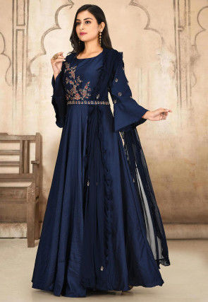 Hand Embroidered Art Silk Gown in Navy Blue