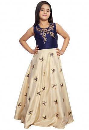 Hand Embroidered Art Silk Gown in Off White and Navy Blue