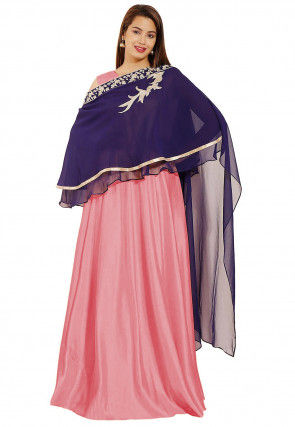 Hand Embroidered Art Silk Gown in Peach and Navy Blue