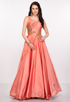Hand Embroidered Art Silk Gown in Peach