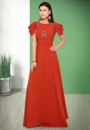 Hand Embroidered Art Silk Gown in Red