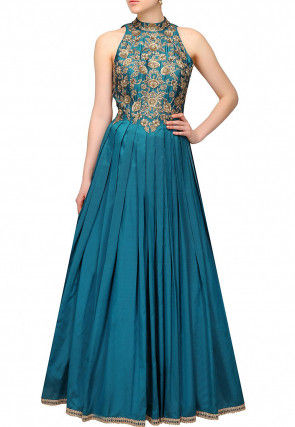 Hand Embroidered Art Silk Gown in Teal Blue