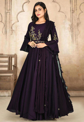 Hand Embroidered Art Silk Gown in Wine