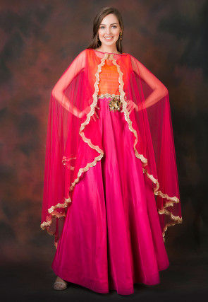 Hand Embroidered Art Silk Gown with Cape in Fuchsia and Orange