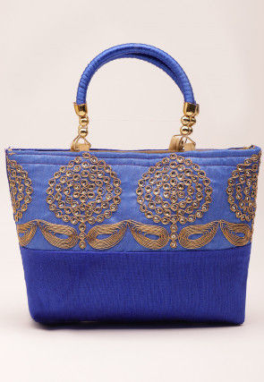 Hand Embroidered Art Silk Hand Bag in Blue