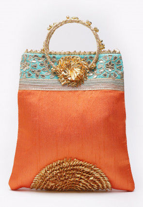 Hand Embroidered Art Silk Hand Bag in Orange and Turquoise