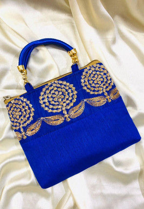 Hand Embroidered Art Silk Hand Bag in Royal Blue