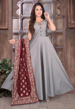 Hand Embroidered Art Silk Jacquard Abaya Style Suit in Grey