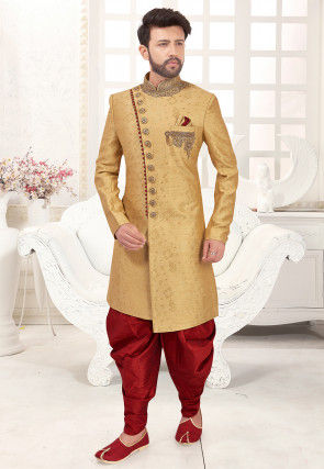 Hand Embroidered Art Silk Jacquard Asymmetric Sherwani in Beige