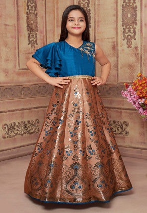 Hand Embroidered Art Silk Jacquard Gown in Brown and Blue