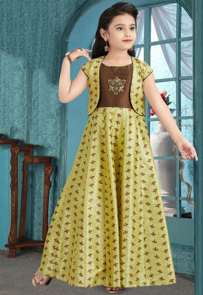 Hand Embroidered Art Silk Jacquard Gown in Light Green