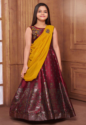 Hand Embroidered Art Silk Jacquard Gown in Maroon and Mustard