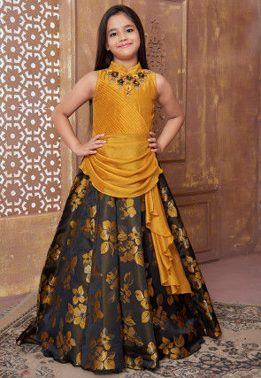 Hand Embroidered Art Silk Jacquard Gown in Mustard and Black