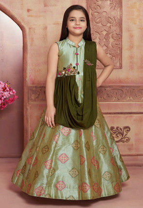 Hand Embroidered Art Silk Jacquard Gown in Pastel Green