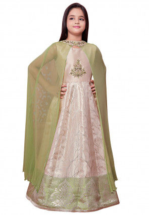 Hand Embroidered Art Silk Jacquard Gown in Pink