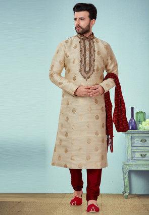 Hand Embroidered Art Silk Jacquard Kurta Pyjama in Beige